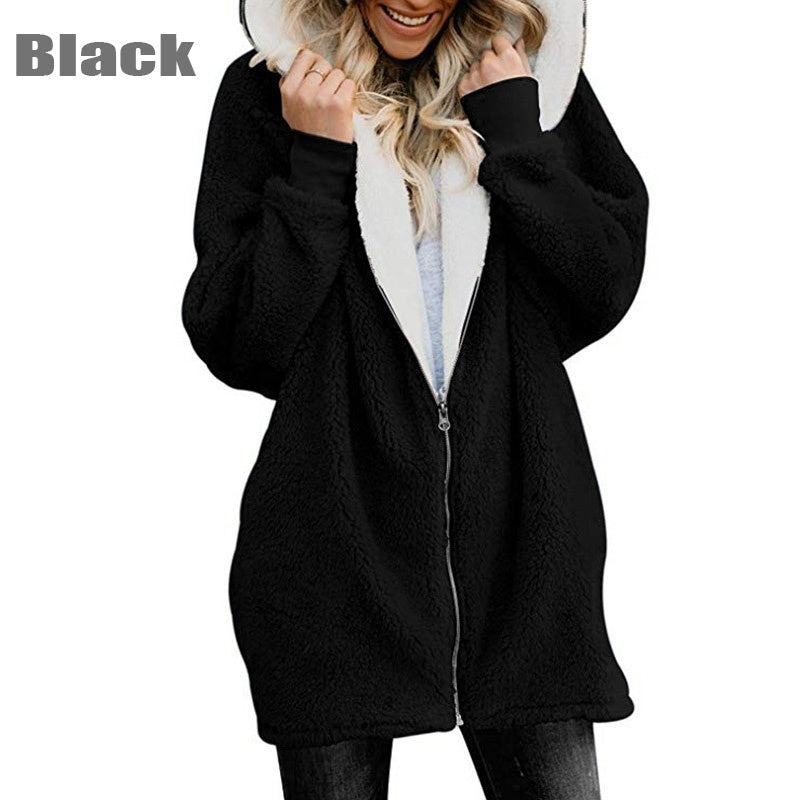 New Fashion Solid Color Hooded Fluffy Faux Velvet Cardigan Jacket Winter Long-sleeved Warm Zipper Coats