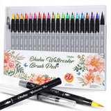 Ohuhu Watercolor Brush Markers Pen, Ohuhu 20 Colors Water Based Drawing Marker Brushes W/ A Water Coloring Brush, Water Soluble for Adult Coloring Books Manga Comic Calligraphy, Back to School Art Supplies