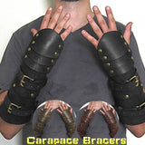 Steampunk Medieval Carapace Leather Bracers with Buckle Straps Vintage Gothic Style Leather Bracelets Renaissance Spartacus Warrior Arm Armor Cosplay Props Accessories