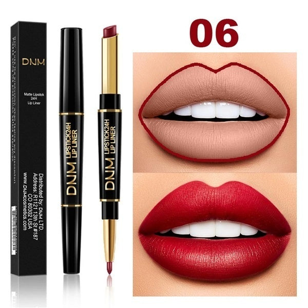 Double head Lipstick & Lip Liner Brand DNM Do not fade multi-function pearl matte lipstick pen waterproof long-lasting lip makeup