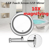 7'' 10x Magnifying Led Adjustable Makeup Cosmetic Mirror Folding Wall Mount Makeup Mirrors