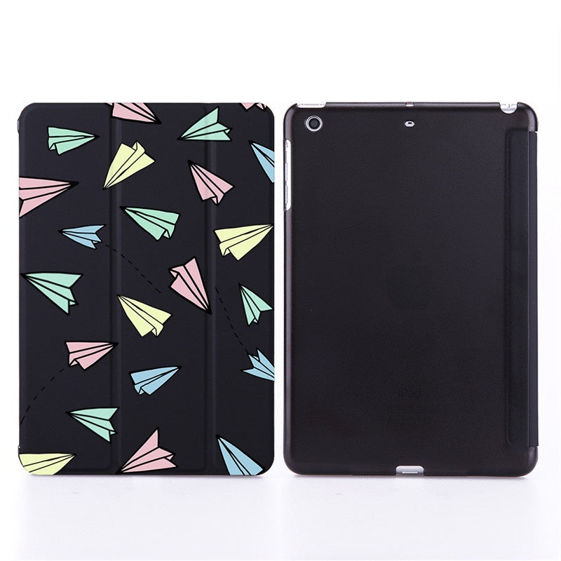 Paper Plane Pattern Ipad Smart Cover Leather Case for IPad 2 3 4 IPAD Mini Mini2 Mini3 Mini4 2019 Mini5 IPad Air Air2 Ipad 9.7 IPAD 9.7''Pro 10.5''Pro 12.9''Pro