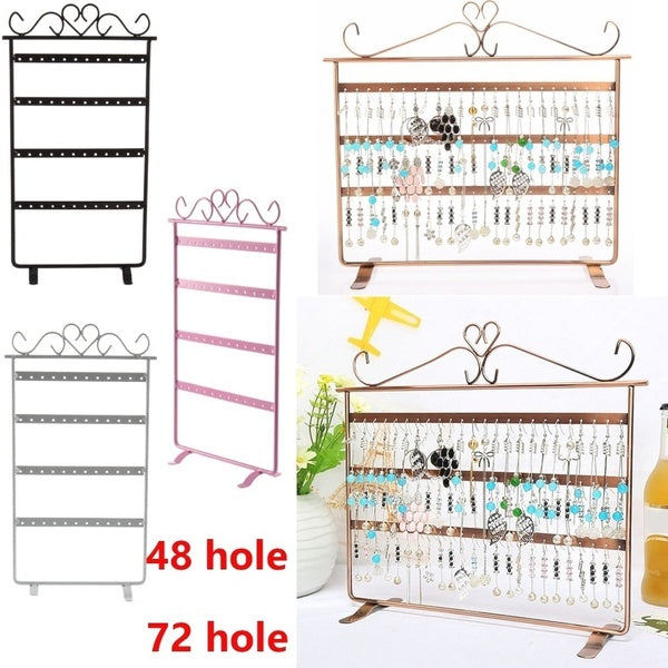 48/72 Hole Earrings Ear Studs Display Holder Stand Jewelry Organizer Rack EN