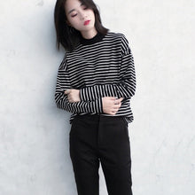 Load image into Gallery viewer, Women Spring Autumn Casual Loose Slim Fit Striped Half-high Collar Long Sleeve Bottoming Shirt Tops