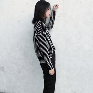 Women Spring Autumn Casual Loose Slim Fit Striped Half-high Collar Long Sleeve Bottoming Shirt Tops