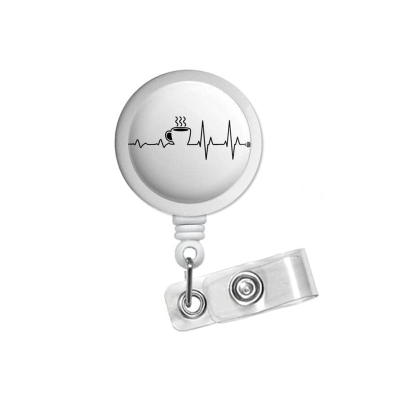 Coffee EKG Retractable ID Badge Reel Holder Clip Holder Retractable RN Student Nurse
