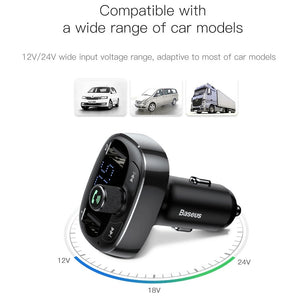 Baseus Car Charger FM Transmitter Aux Modulator Bluetooth Handsfree Car Audio MP3 Player 3.4A Fast Dual USB Mobile Phone Charger
