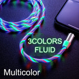 1M(3.3ft) Lightning/Type C/Micro Optional USB Led Charging Cable Data Transmission Cable Magnetic Micro USB Type C Lightning Cable Mobile Phones