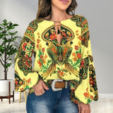 Fashion Women's National Style Print Shirts Trending Vintage Lantern Sleeve blouse Long Sleeve Casual Plus Size Tops S-5XL