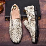 Fashion Mens Design Brand Snake Leather Shoes Male Casual Flat Driving Shoes Slip on Shoes Soft Comfy Lazy Shoes Moccasins Loafers for Men Chaussures Hommes Big Size