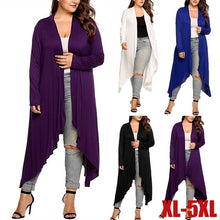 Load image into Gallery viewer, Spring Autumn New Women Ladies Plus Size Soild Color Long Sleeve Irregular Cardigan Coats