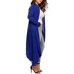 Spring Autumn New Women Ladies Plus Size Soild Color Long Sleeve Irregular Cardigan Coats