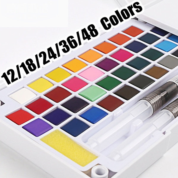 12/18/24/36/48 Colors Portable Travel Solid Pigment Watercolor Paints Set With Water Color Brush Pen For Painting Art Supplies