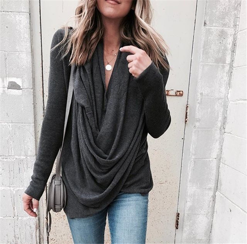 Fashion Women Casual Long Sleeve Autumn Tops Solid Color Plus Size Loose T-shirt Tops