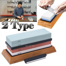 Load image into Gallery viewer, 2 Type New Grit Premium Whetstone Cut Sharpening Stone Set Ideal Sharpener for All Blades Non Slip Base Cutter Sharpener