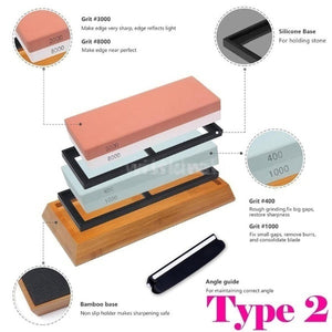 2 Type New Grit Premium Whetstone Cut Sharpening Stone Set Ideal Sharpener for All Blades Non Slip Base Cutter Sharpener