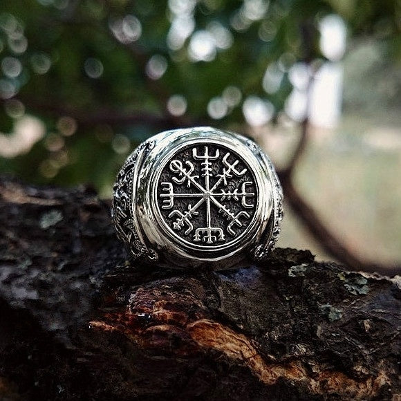 Nordic Viking Pirate Nautical Totem Rudder Ring Vintage 316L Stainless Steel Compass Ring Men's Jewelry
