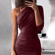 Load image into Gallery viewer, Fashion Women One Shoulder Dress Solid Color Party Bodycon Dresses