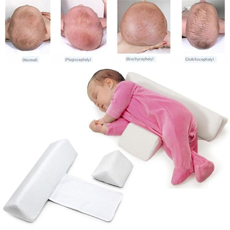 Newborn Baby Infant Sleep Positioner Prevent Flat Head Shape Anti Roll Pillow Detachable and Washable