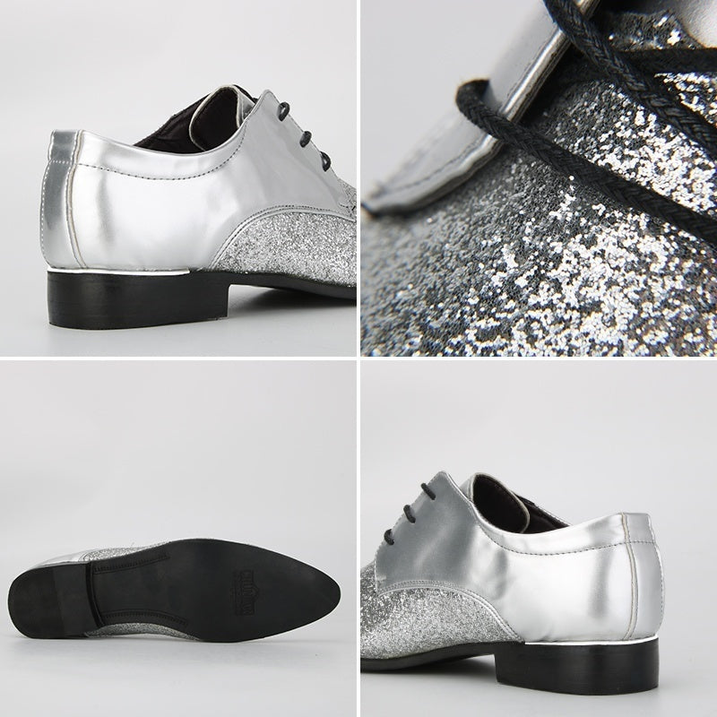 Men Casual Leather Shoes Fashion Pointed Toe Oxfords Shoes Leasure Sequin Shoes Breathable Derby Shoes (size 39-48) 8 Colors