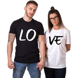 His- and- hers Couple Matching T-shirts Top Casual Red LO VE Women Men Fashion Boyfriend Girlfriend Tees Lovers tshirt Femme