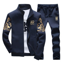 Load image into Gallery viewer, Mens Fashion Tracksuit Outdoor Casual Sports Wear Suit Set Sweatshirts+Sweatpants