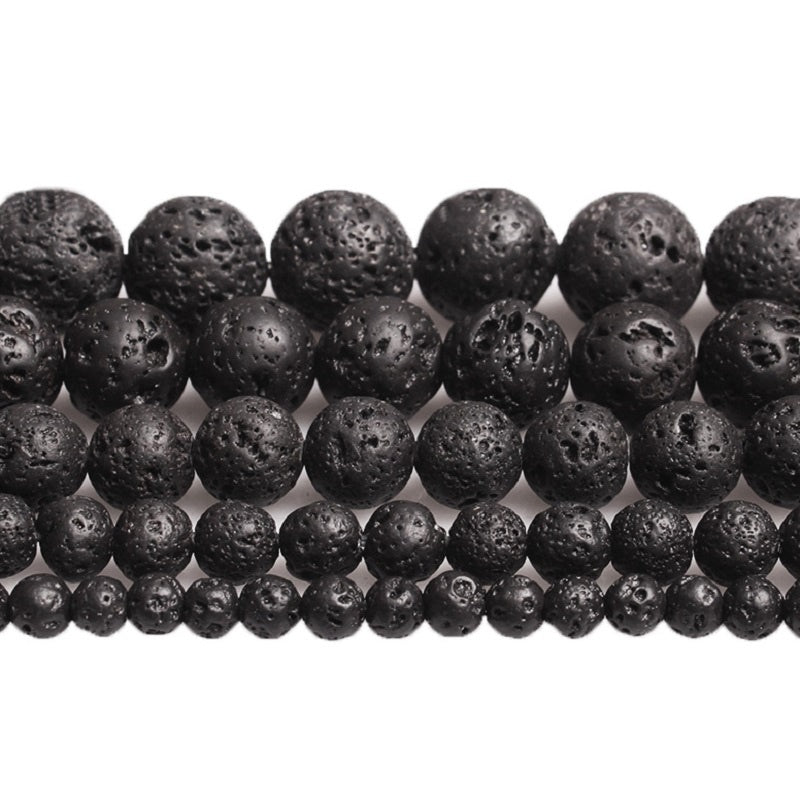 Natural Volcanic Lava Beads Stone Beads DIY Black Lava Stone Beads Round Volcanic-Stone Wholesale for Jewelry Making 4-12mm