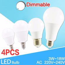 Load image into Gallery viewer, 4pcs E14/E27 LED Bulb SMD5730 AC85V-265V 3/6/9/12/15/18/20W Aluminium+PC Fast Heat Dissipation