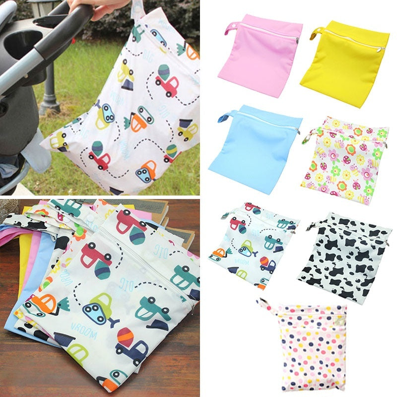1pcs Portable Baby Diapers Bag Baby Stroller Nappy Wet Bag Waterproof Poluester Washable Reusable Baby Diaper Carry Storage Pouch