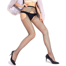 Load image into Gallery viewer, Jumpsuit Net Socks Net Single Open Socks Front and Rear Open Jumpsuit Net Socks Three-hole Mesh Tights