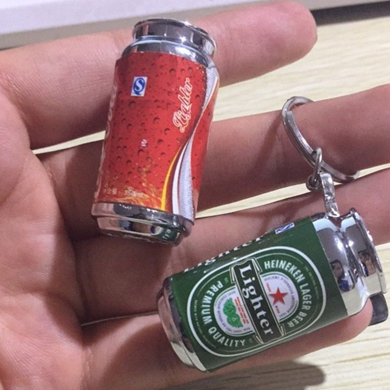 2018 New Creative Coca Cola Fire Inflatable Butane Cigarette Cigar Mini Fireproof Keychain Lighter Cool Lighter Without Gas