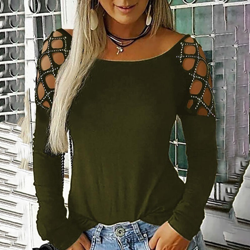 Women Trending Clothes Autumn Fashion Crew Neck Hollow-Out Studded Long Sleeve Drill T Shirts Casual Solid Color Tops