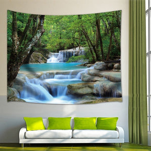 Nature Waterfall Green Forest Tapestry Landscape Tapestry Wall Hanging Tapestry Decorative Bohemian Tapestry for Home Living Room Dorm Decor