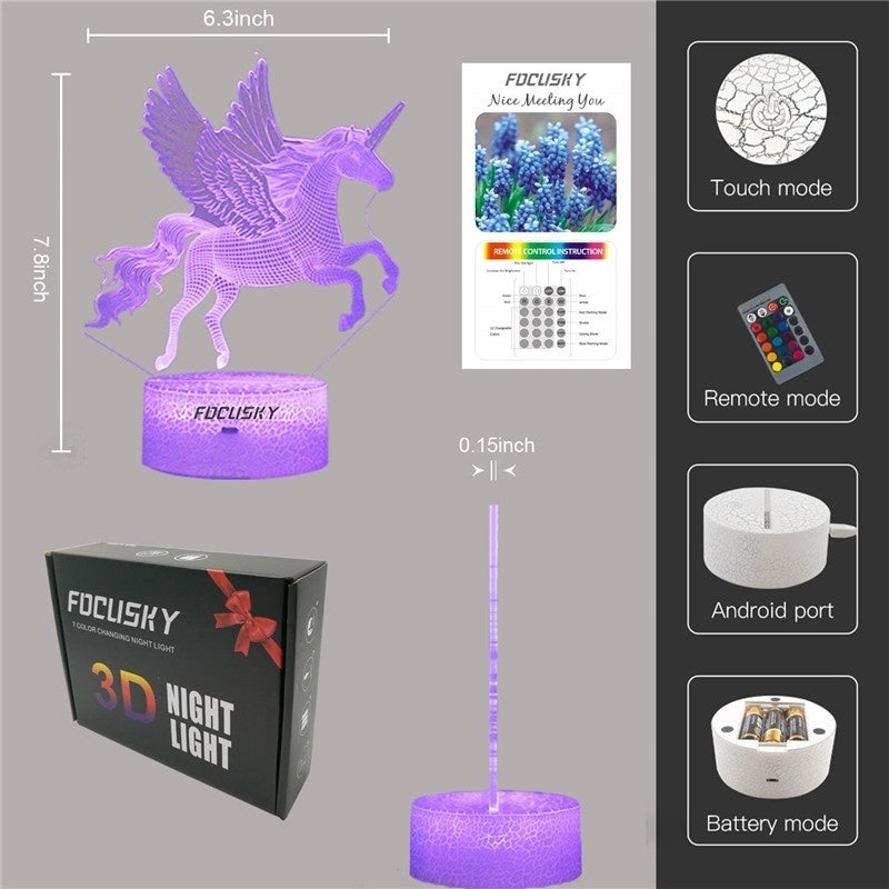 Unicorn Night Light for Kids,Dimmable LED Nightlight Bedside Lamp,16 Colors+7 Colors Changing,Touch&Remote Control,Best Unicorn Toys Birthday Christmas Gifts for Girls Boys