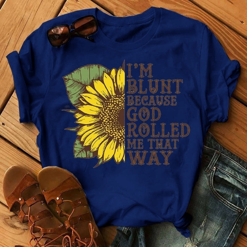 5 Colors  Spring and Summer Fashion Sunflower Plus Size Funny Letter Print T-shirt Women Cotton Sunflower Printed Short-Sleeved Tee