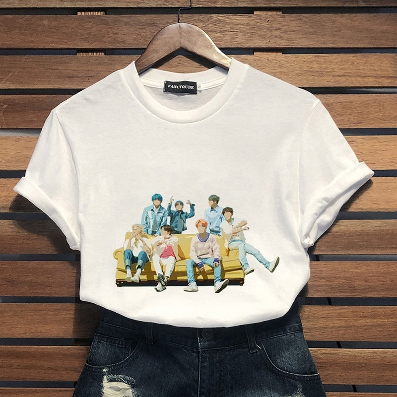2019 Women New Fashion Bts Bangtan Boys Pattern Print O Neck Short Sleeve Casual Shirts Tops Fans Gift