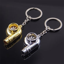 Load image into Gallery viewer, Real Whistle Sound Turbo Keychain Sleeve Bearing Spinning Auto Part Model Turbine Turbocharger Key Chain Ring Keyfob Keyring