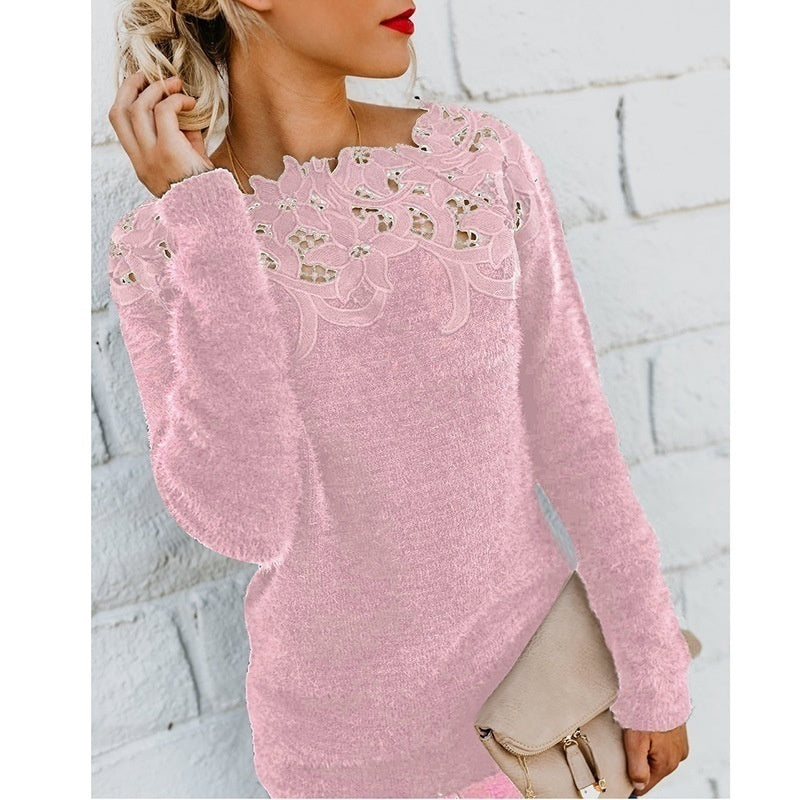 Women's Fashion Autumn and Winter Plush Warm Tops Long Sleeve Pullovers Ladies Casual Slim Fit Knitted Sweaters Pure Color Lace Splice Tops