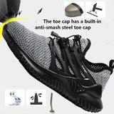 Men's Safety Shoes Steel Toe Breathable Outdoor Work Shoes