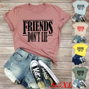 2019 Women Fashion Casual Short Sleeve T-shirt Friends Don'T Lie Letter Print Stranger Things Hawkins Middle School Shirts