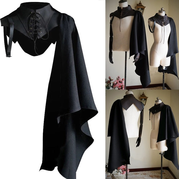 Unisex Renaissance Medieval Cloaks Gothic Punk Vintage  Cosplay Costume  Pirate Hooded Single Shoulder Mantle Cape Larp Warrior Fighting Cape  Black