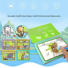 Load image into Gallery viewer, Water Coloring Books Animal Water Reveal Pad Paint Book for Toddlers Boys Girls