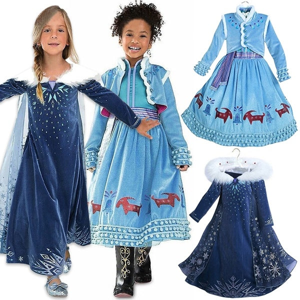 Kids Girl Snow Princess Prom Dress Halloween Party Costume Clothes for 1-6 Years