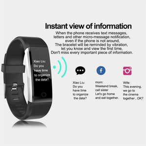Smart Sports Wristband Activity Fitness Tracker IP67 Waterproof Step Counter Bluetooth Bracelet 0.96 Inches OLED Smart Watch for iPhone Android
