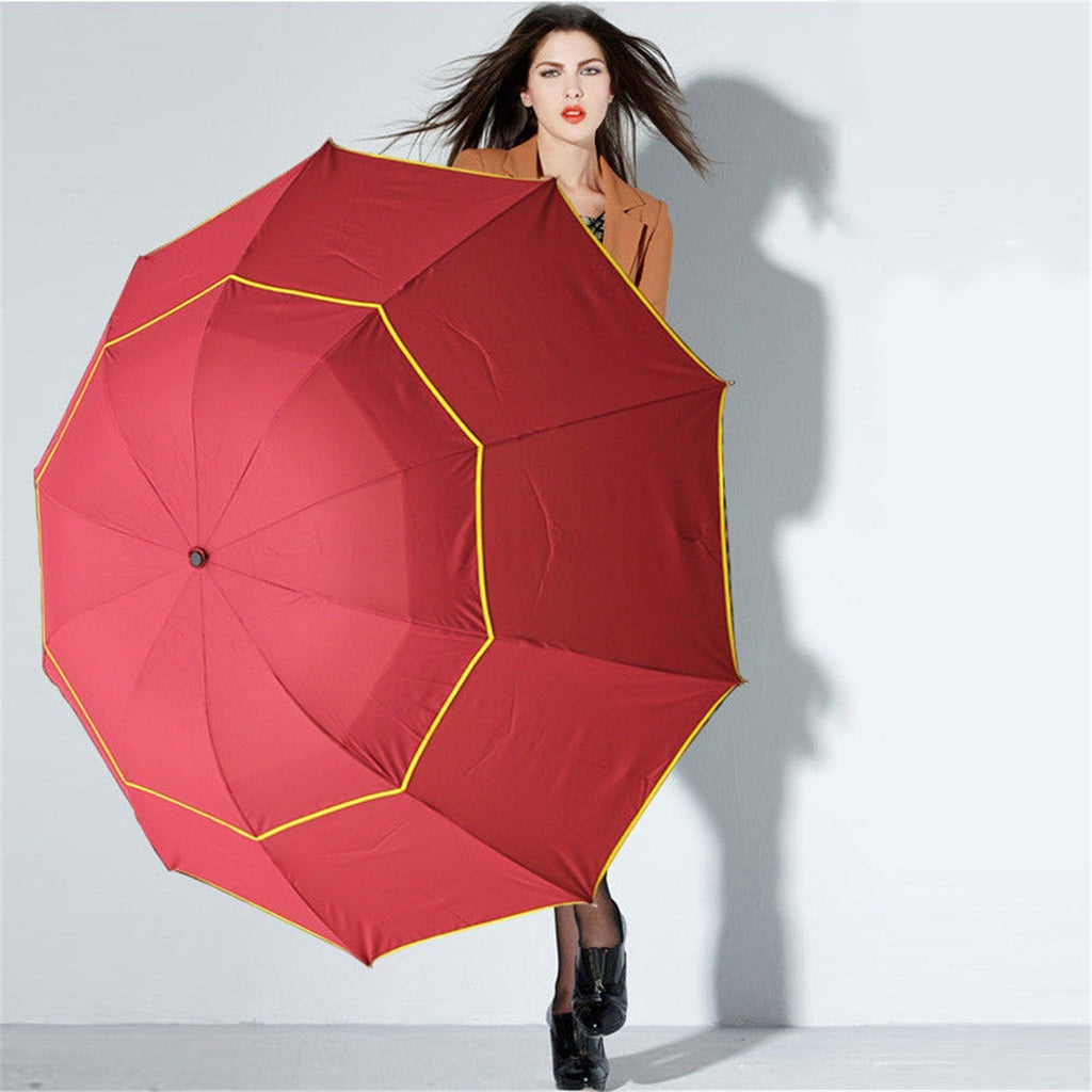 130CM Large Folding Rain Umbrella Anti-UV Windproof Big Oversized for Men Women