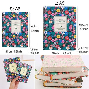 Floral Leather Cover Planner Notebook Personal Diary Agenda Organizer Stationery Office Supplies
