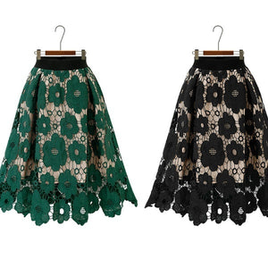 2019 Women's Fashion Lace Openwork Flower Skirt Casual Elegant A Line Knee Length Skir.