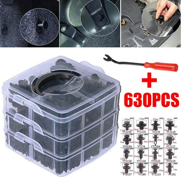 630pcs/Set Plastic Car Body Push Pin Rivets Car Bumper Repair Fastener Clips+ Screwdriver
