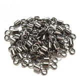 50Pcs Ball Bearing Swivel Solid Rings Fish Connector Round 8 Shape Eye Rolling Swivels Rig Sea Carp Fishing Tools Multi Sizes