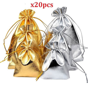 20Pcs Luxury  Bags Drawable Jewelry Pouch Gift Packaging Bag Candy Bag For Wedding Party Favors Xmas Decorations
